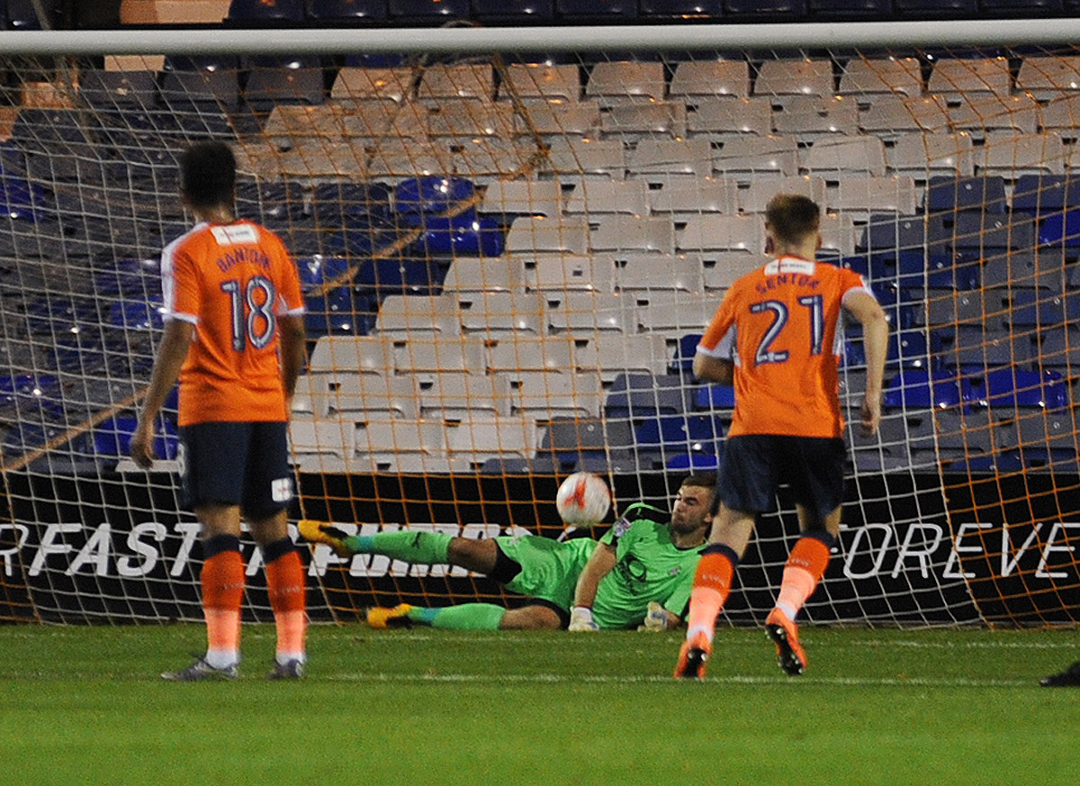 Craig King saves Callum McManaman's penalty in the 2-0 Checkatrade Trophy win over West Brom