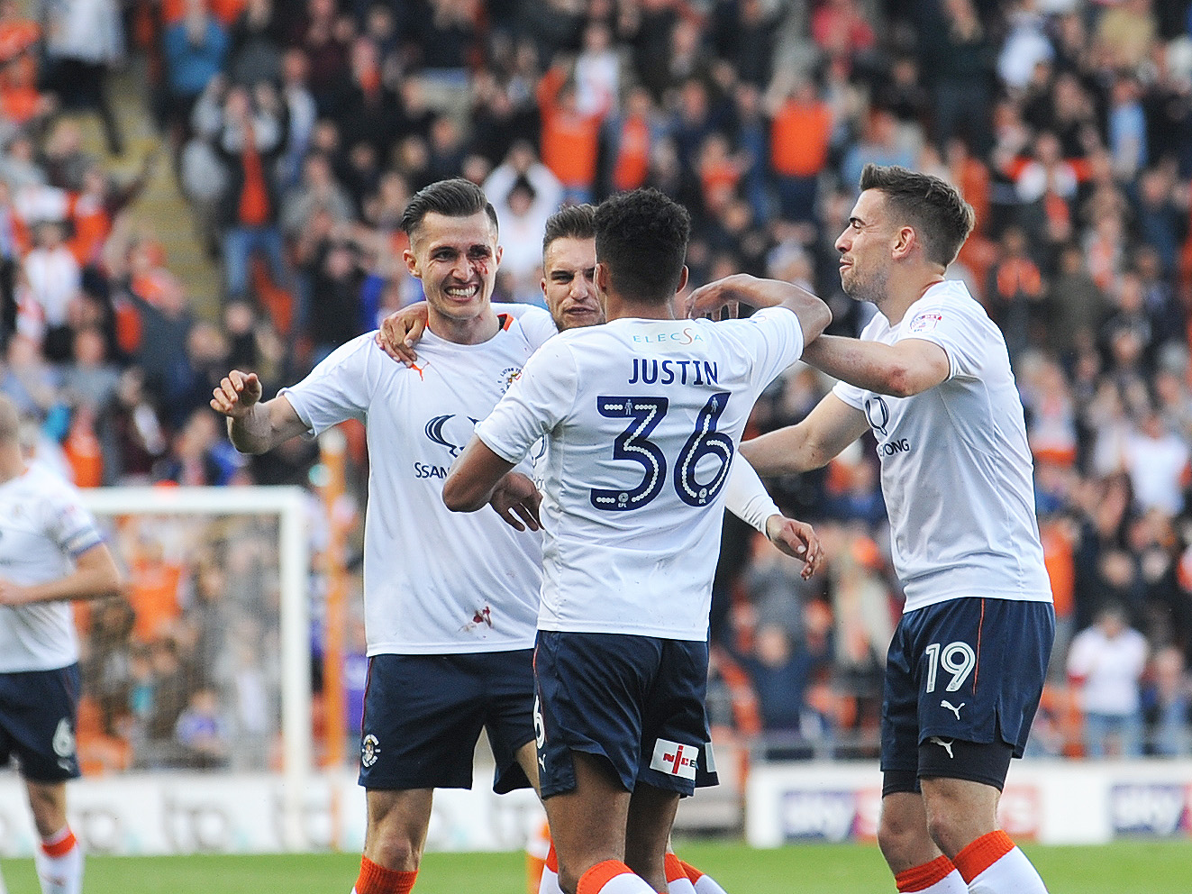 Dan Potts celebrates his first goal for the club in the play-off semi-final first leg at Blackpool