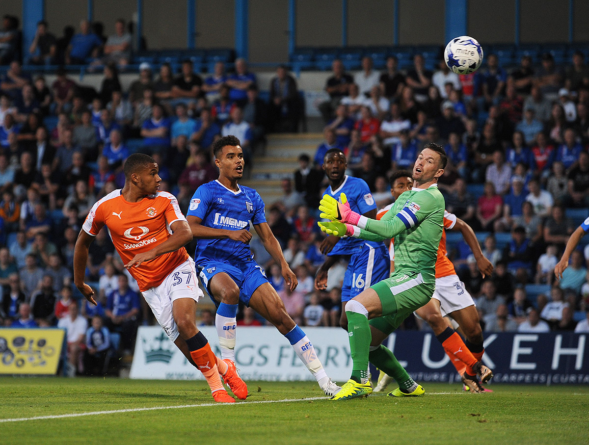 Frankie Musonda heads in his first senior goal in the 2-1 Checkatrade Trophy win at Gillingham in August 2016