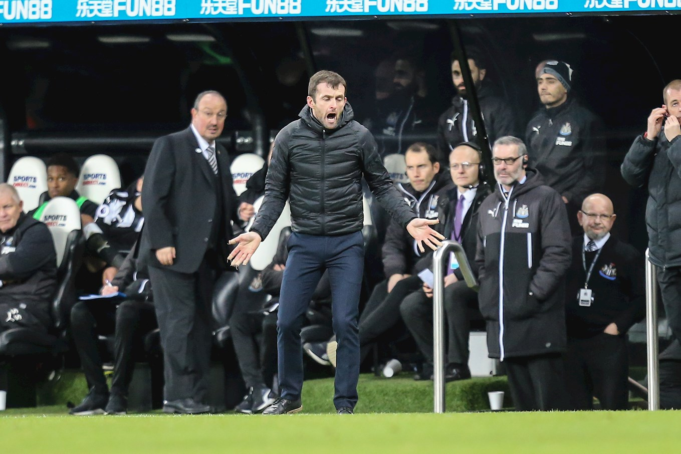 Hatters boss Nathan Jones came up against Newcastle United's Champions League-winning manager Rafa Benitez, left, on Saturday