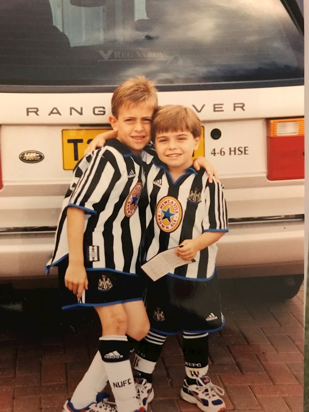 Hatters players Olly and Elliot Lee when they were boys in their Newcastle United kits