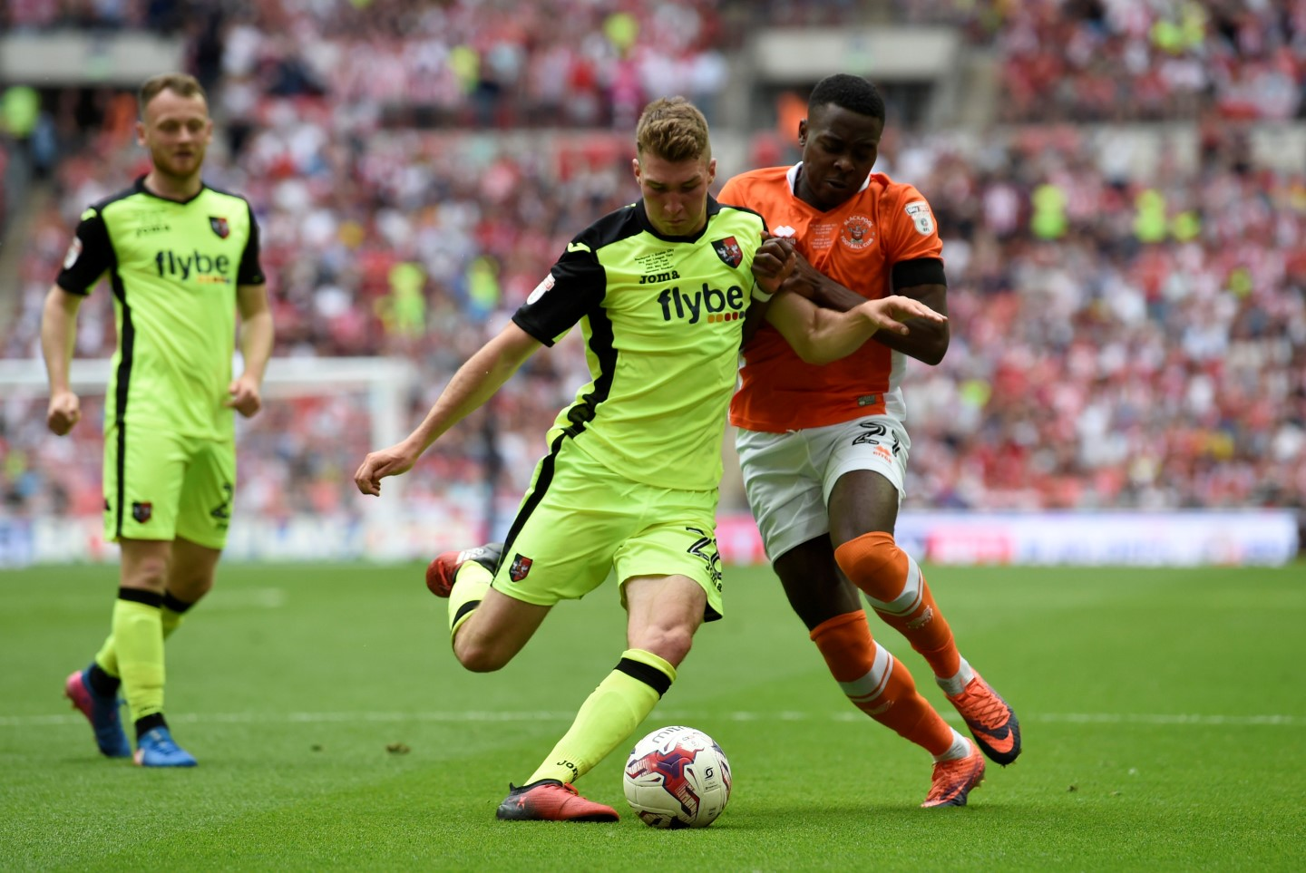 Jack Stacey in action for Exeter in last season's League Two play-off final at Wembley