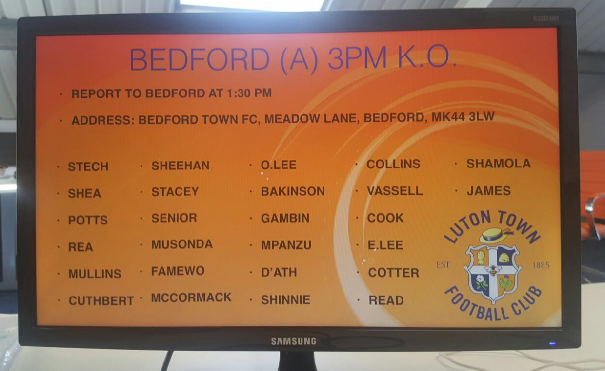 The Hatters squad that will make the short journey to Bedford Town