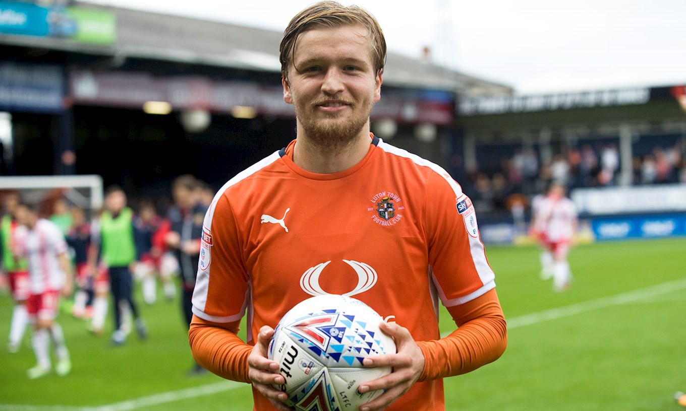 Luke Berry with the matchball after opening his account for the Town with a perfect hat-trick against Stevenage