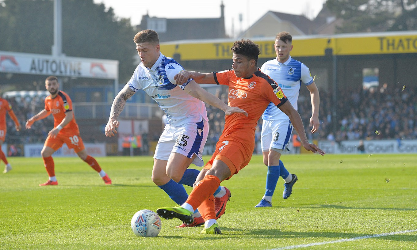 James Justin goes on the attack during the March win at Bristol Rovers