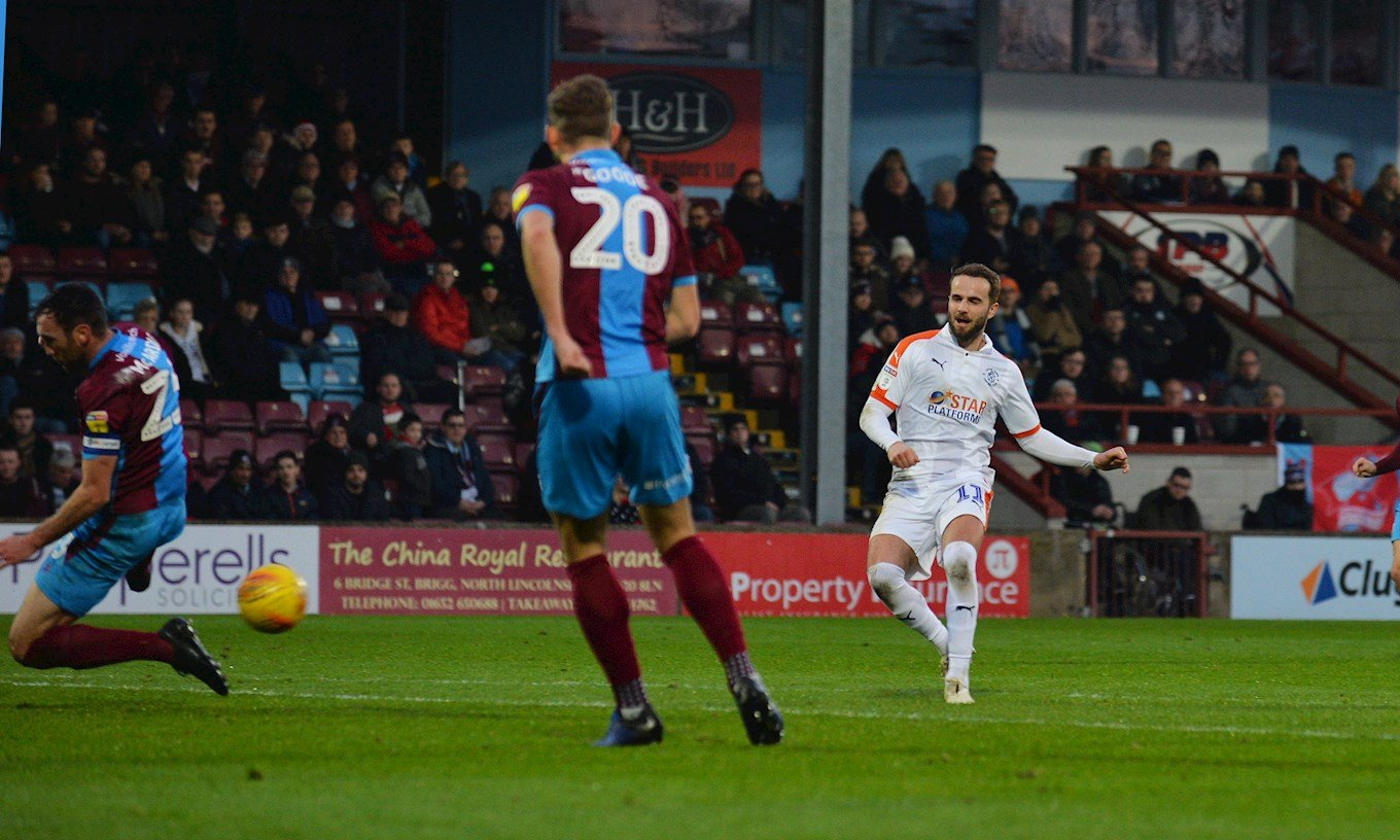 Andrew Shinnie curls in the opening goal in the 2-0 Boxing Day win at Scunthorpe