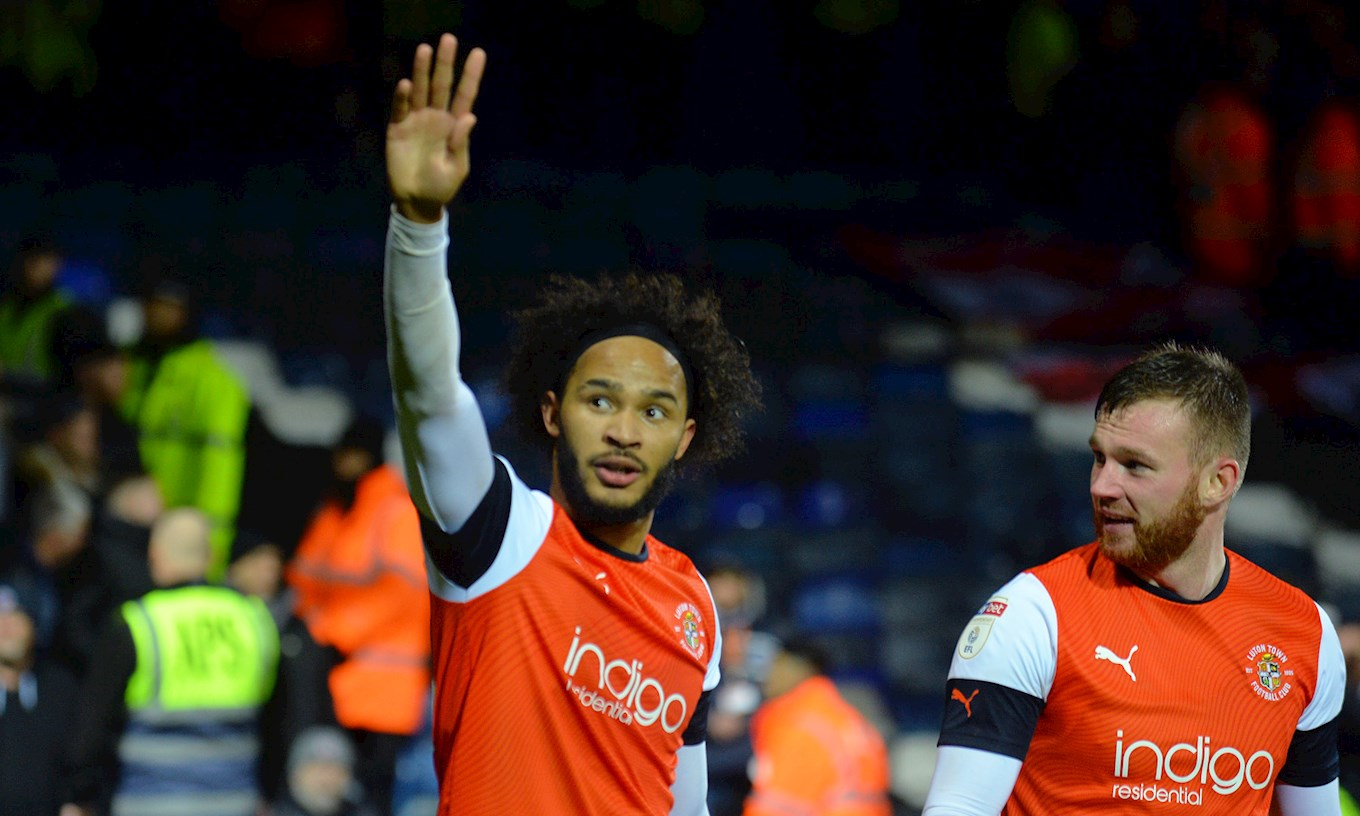Izzy Brown celebrates his only goal for the Hatters so far in the 2-1 win over Charlton