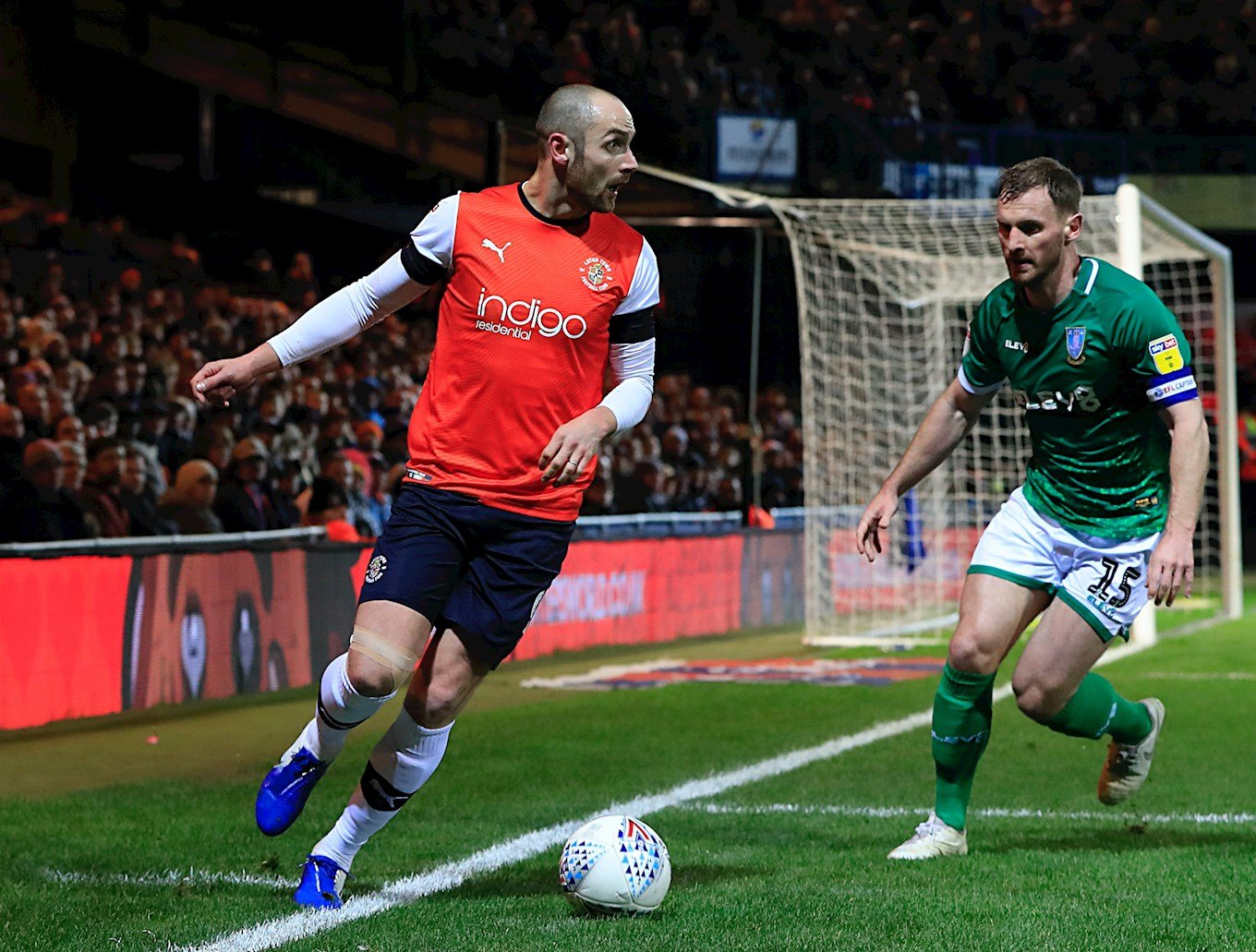 Danny Hylton in action on his Championship debut against Sheffield Wednesday
