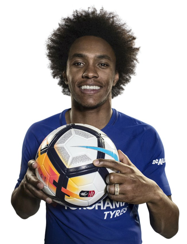 Chelsea star Willian poses with the 'Ball For All' - the matchball to be used in the Emirates FA Cup final on Saturday