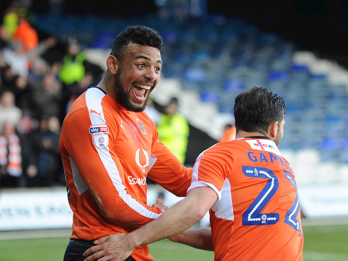 Isaac Vassell celebrates one his 14 goals last season in the home win over Cambridge
