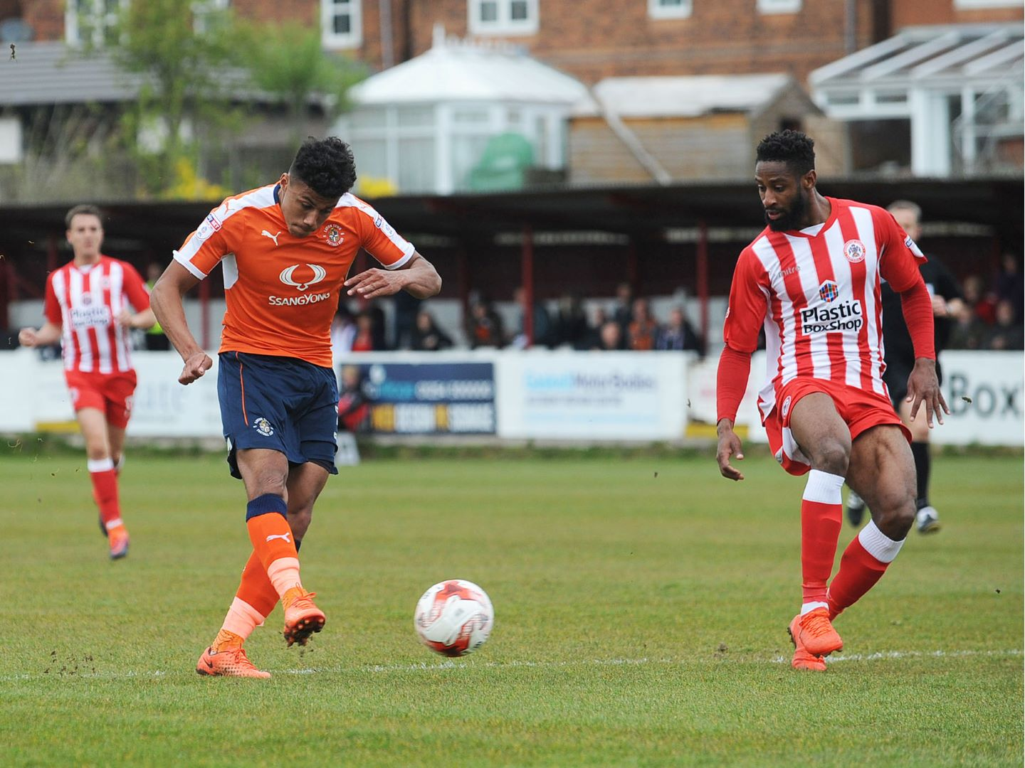 James Justin scores his first senior goal at Accrington in April