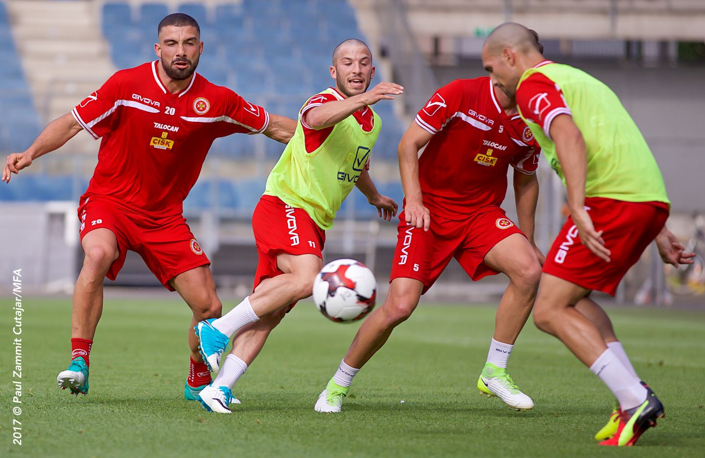 Hatters midfielder Luke Gambin in training with his Malta team-mates