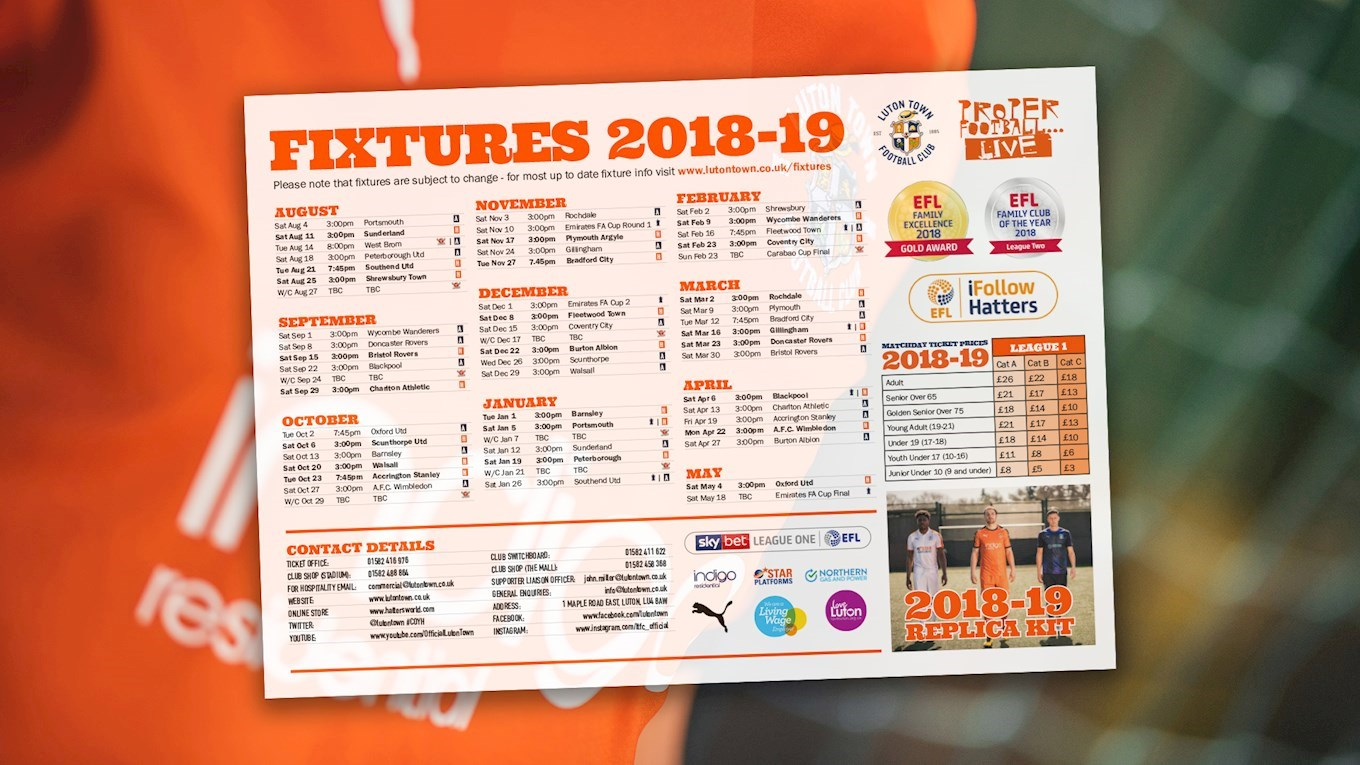 DOWNLOAD OUR HANDY FIXTURES WALLCHART - News - Luton Town
