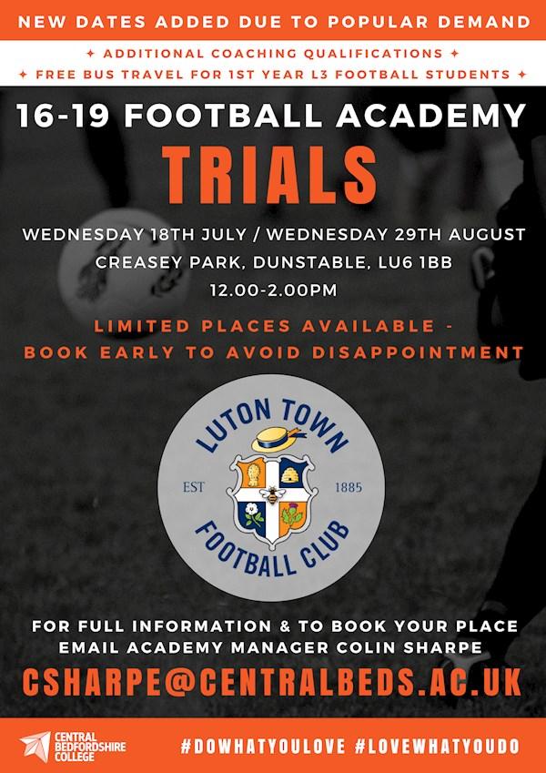16-19 FOOTBALL ACADEMY TRIALS - News - Luton Town