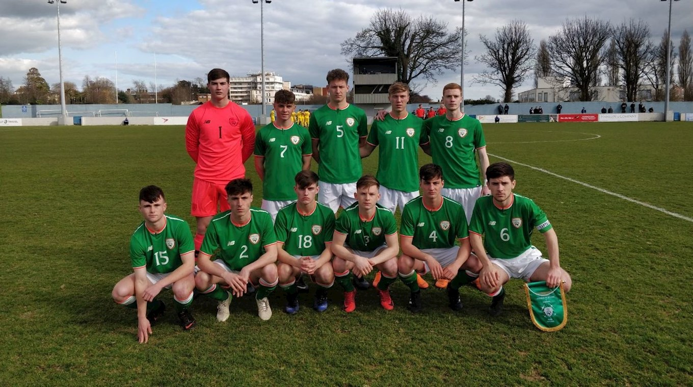 Jack James lines up with the Republic of Ireland Under-18s team ahead of his international debut against Romania in March 2018
