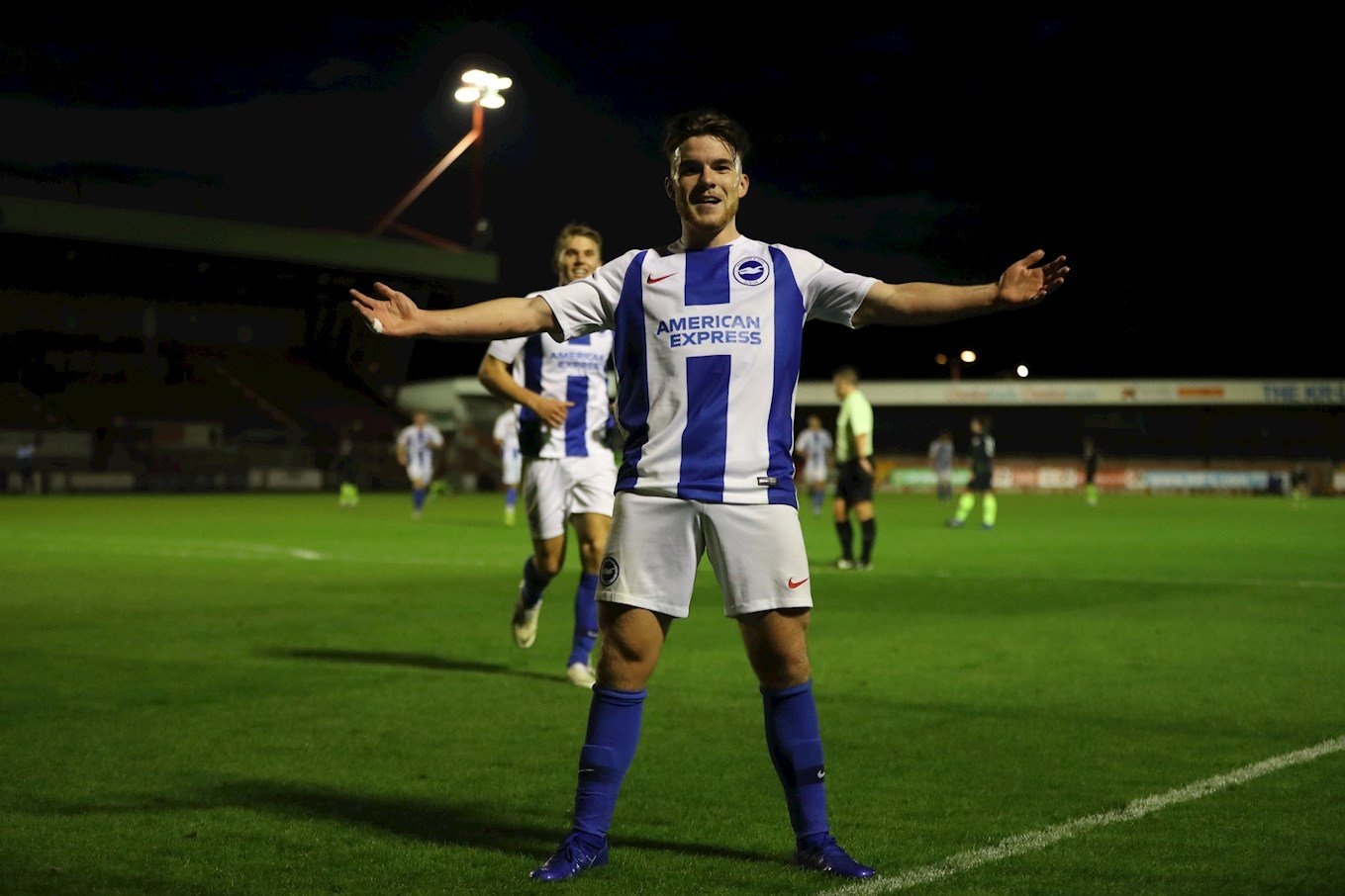 Aaron Connolly celebrates a goal for Brighton U23s