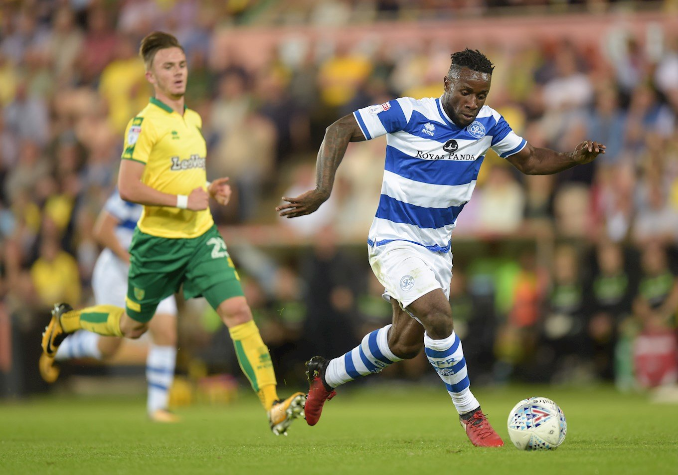 Kazenga LuaLua on the run during a Championship game at Norwich while on loan with QPR