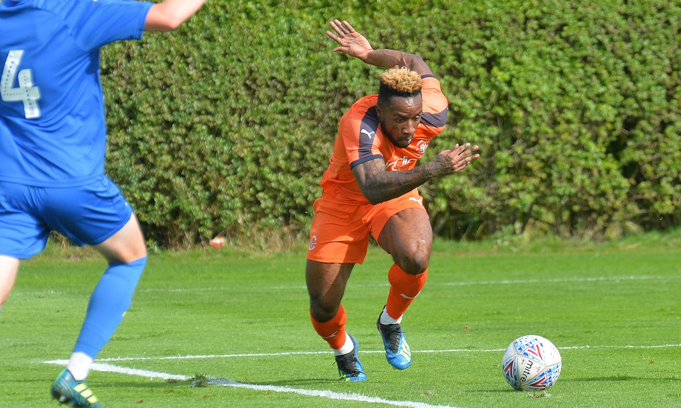 Kazenga LuaLua in action for the Hatters in the development squad's goalless draw with AFC Wimbledon last week