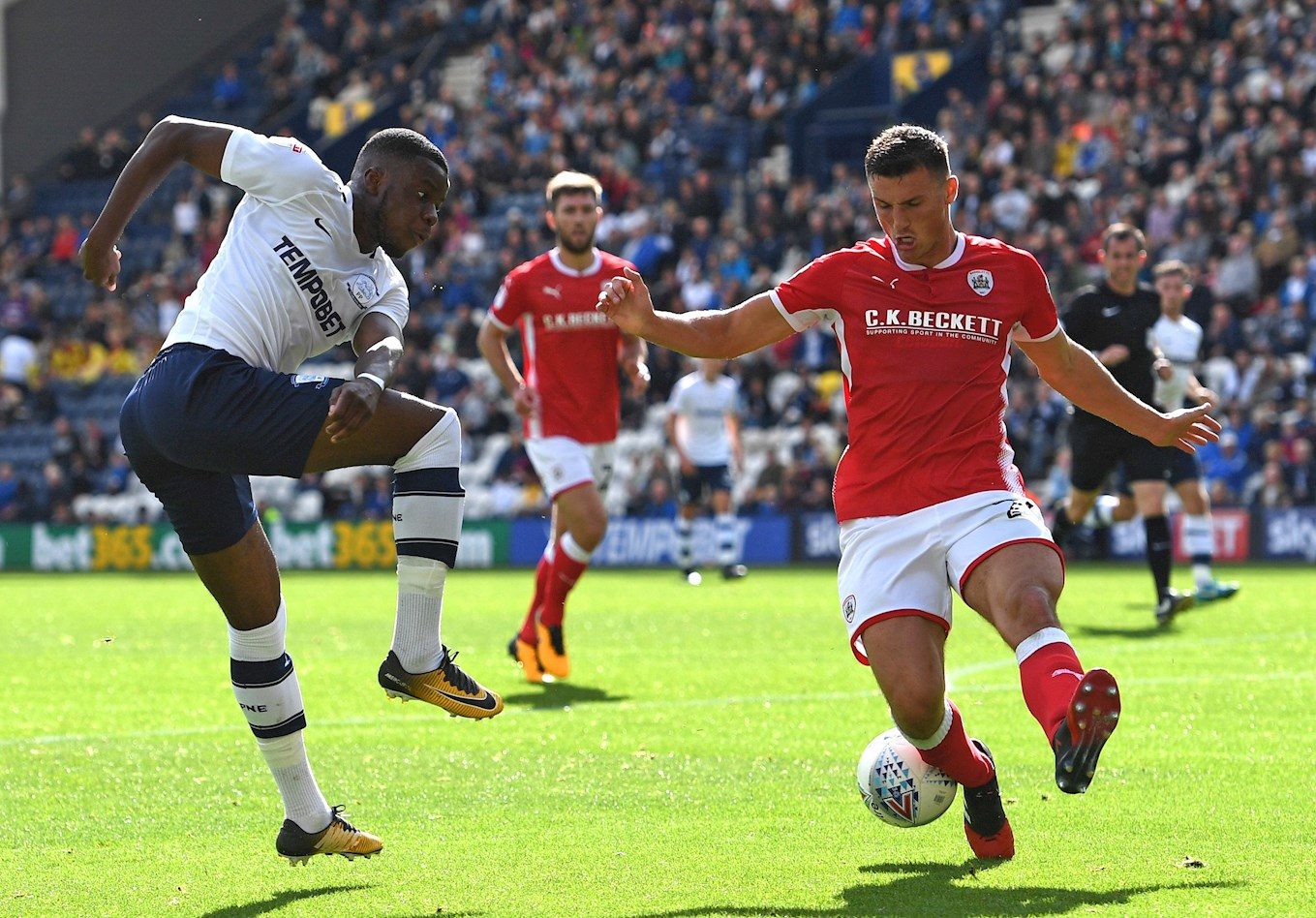 Matty Pearson shows his determination in action for Barnsley against Preston in the Championship last season