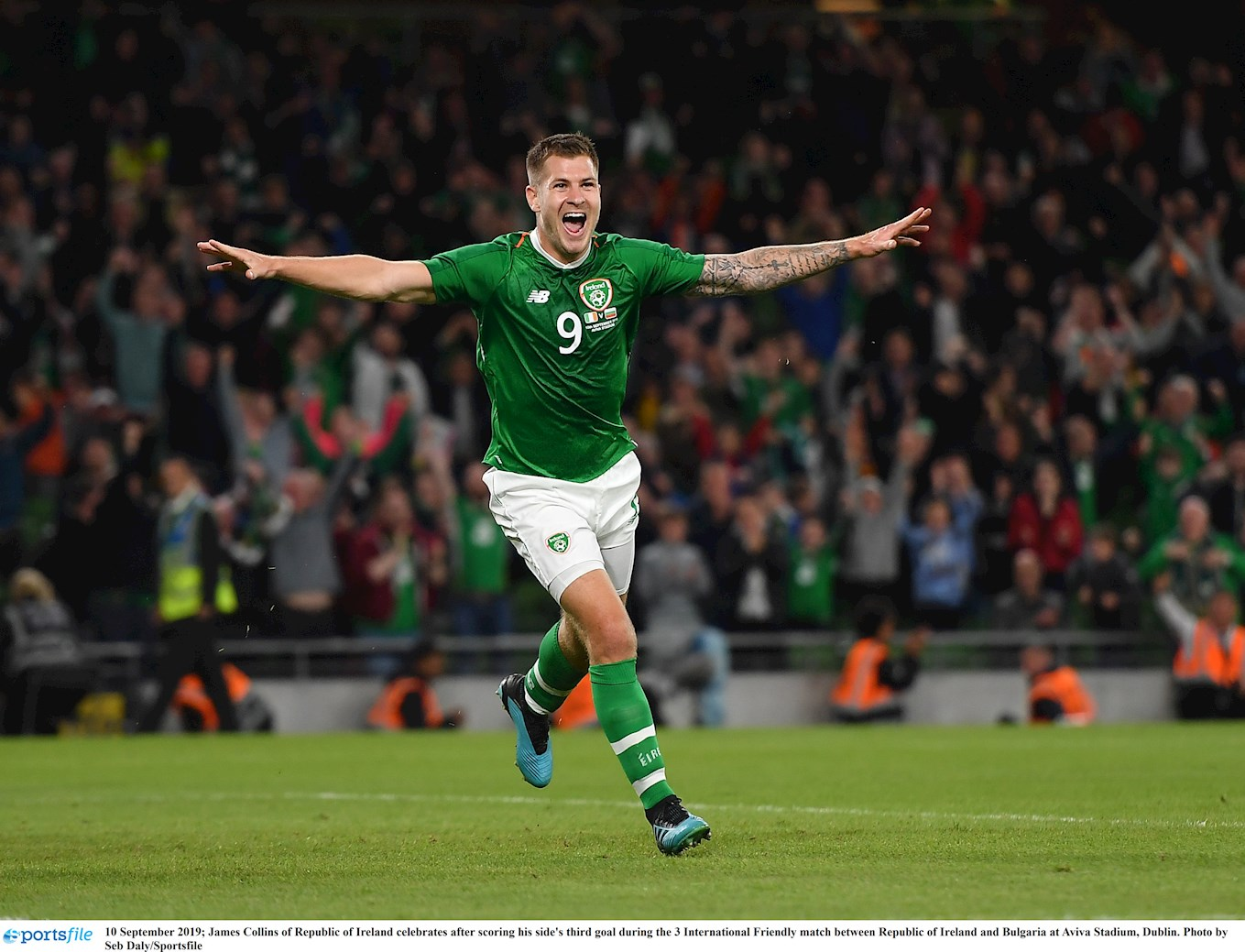 James Collins celebrates his goal on his international debut for the Republic of Ireland against Bulgaria