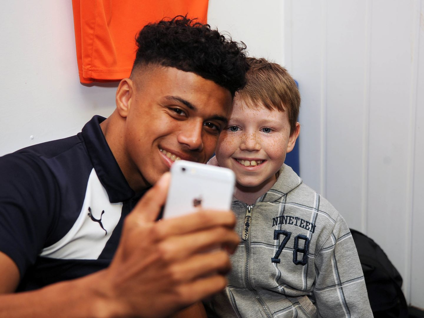 James Justin meets a young fan